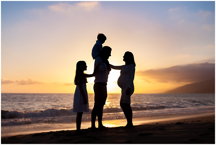 Family Maternity Beach Silhouette by Just Maggie Photography - Los Angeles Maternity & Newborn Photographer