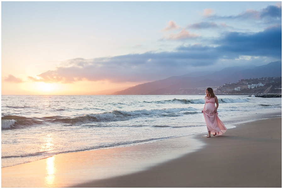 Romantic Sunset Beach Maternity Portraits by Just Maggie Photography - Los Angeles Maternity & Newborn Photographer