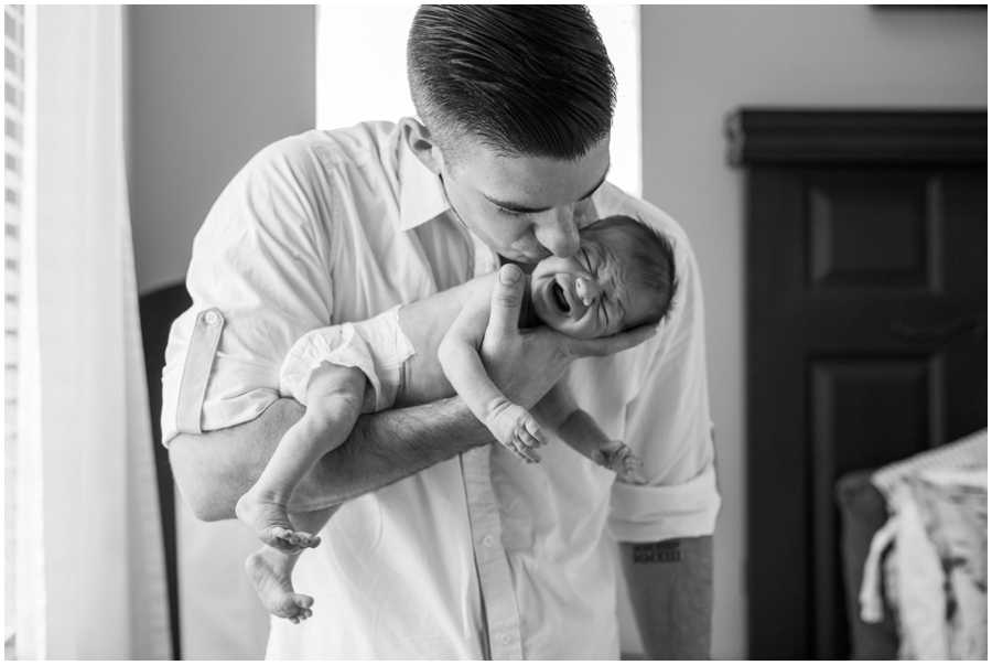 Classic newborn portraits with dad at home by Just Maggie Photography -- Los Angeles Maternity and Newborn Photographer