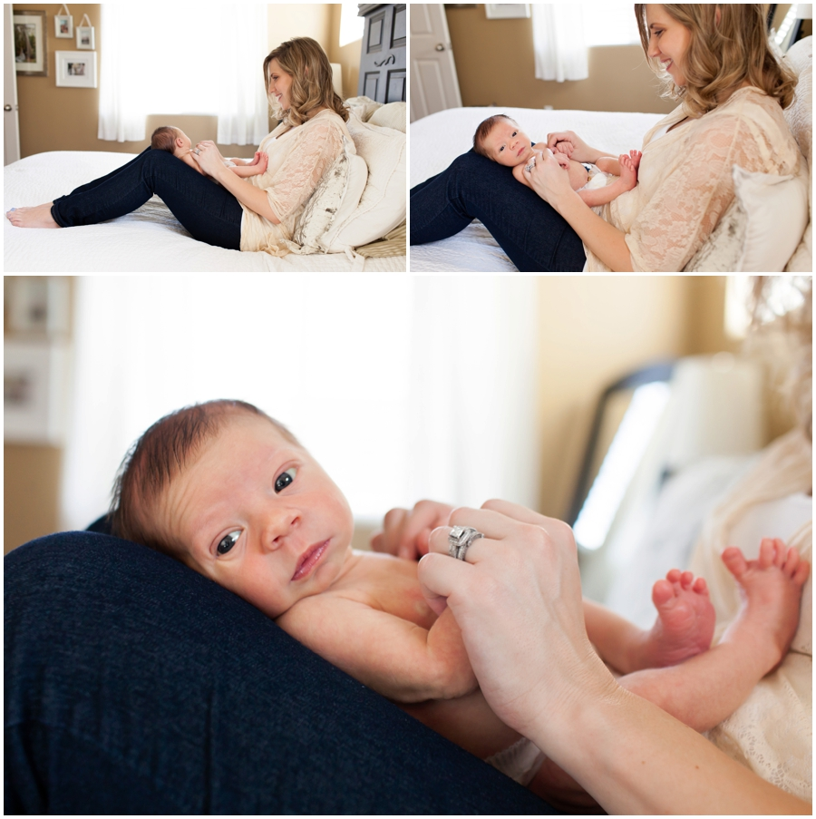 Modern Newborn portraits with mom at home by Just Maggie Photography -- Los Angeles Maternity and Newborn Photographer