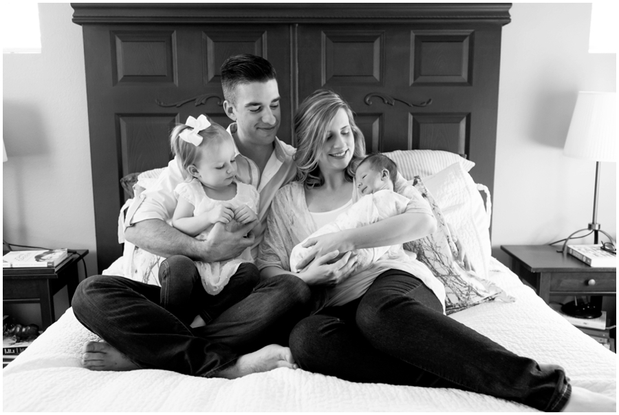 Modern family portraits with newborn at home by Just Maggie Photography -- Los Angeles Maternity and Newborn Photographer