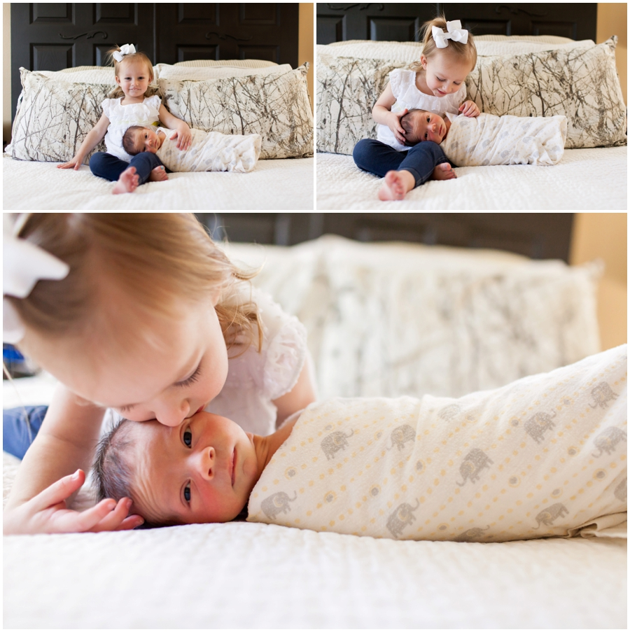 Newborn sibling portraits at home by Just Maggie Photography -- Los Angeles Maternity and Newborn Photographer