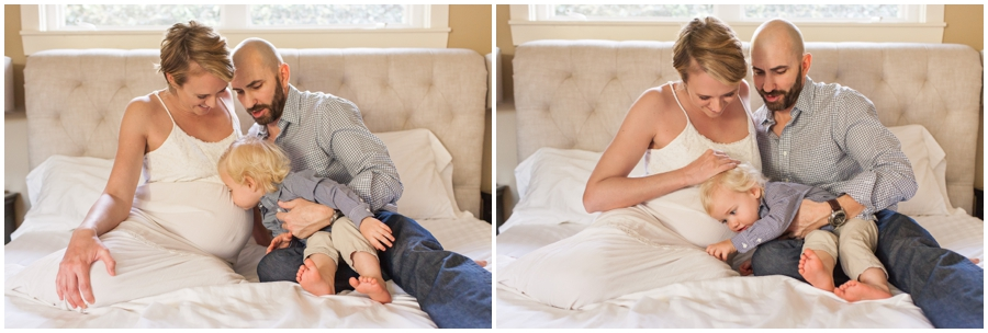 Maternity Portraits with Toddler Sibling at Home by Just Maggie Photography - Los Angeles Maternity and Newborn Photographer