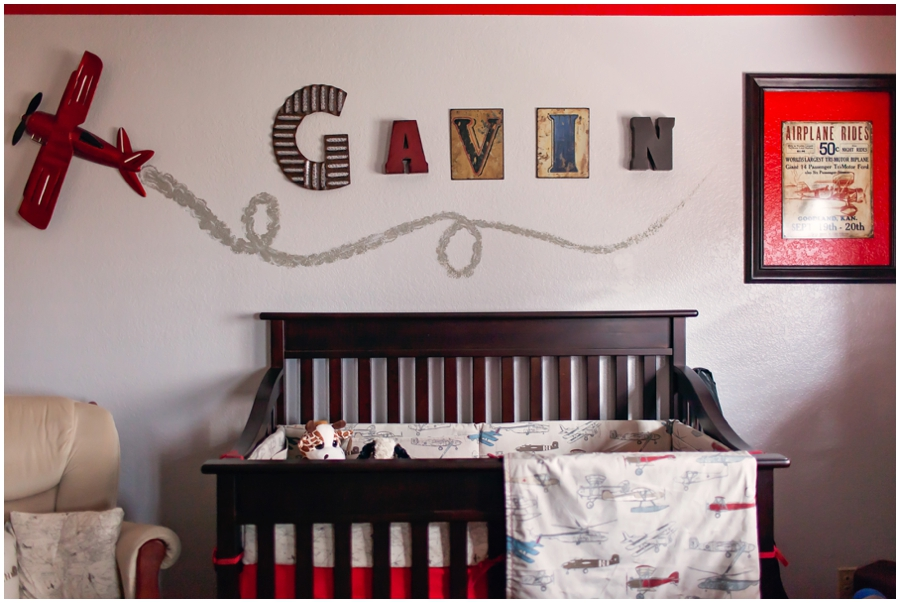 Newborn little boy nursery interior photography by Just Maggie Photography -- Los Angeles Maternity and Newborn Photographer
