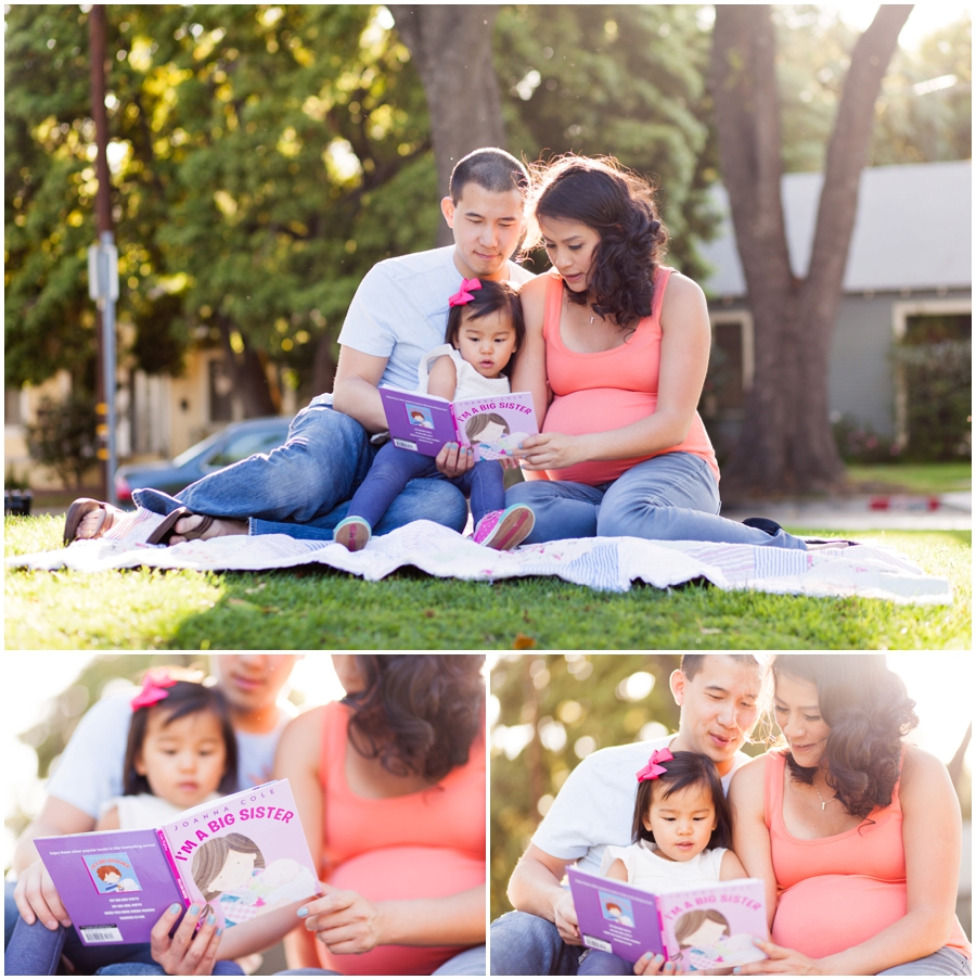Outdoor Family Maternity Portraits at South Pasadena Library by Just Maggie Photography -- Los Angeles Maternity and Newborn Photographer