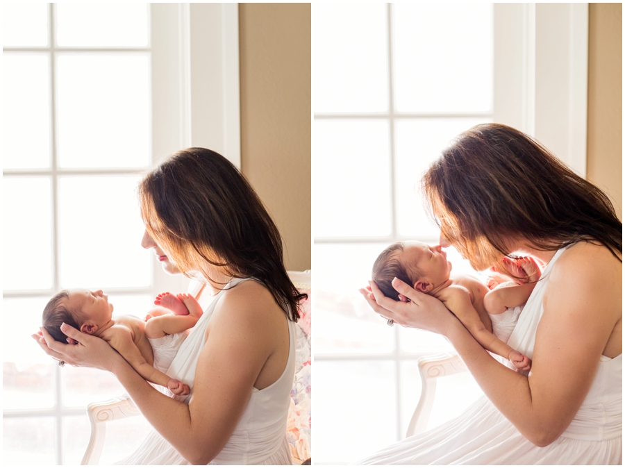 Modern Newborn Family Photographs with Mom by Just Maggie Photography -- Los Angeles Maternity and Newborn Photographer