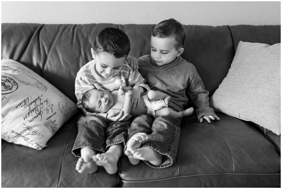 SIbling Newborn Portraits with Big Brothers by Just Maggie Photography -- Los Angeles Maternity and Newborn Photographer