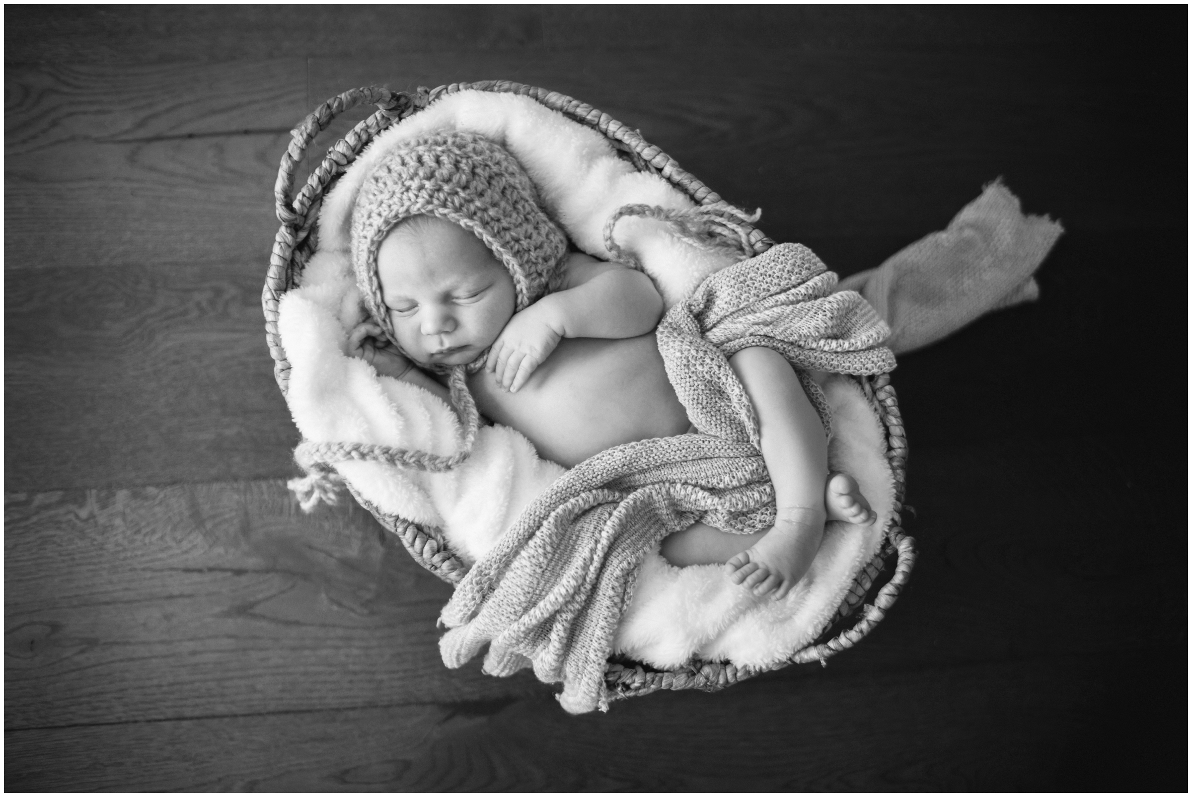 Newborn in Basket Prop by Just Maggie Photography - Los Angeles Newborn Photographer