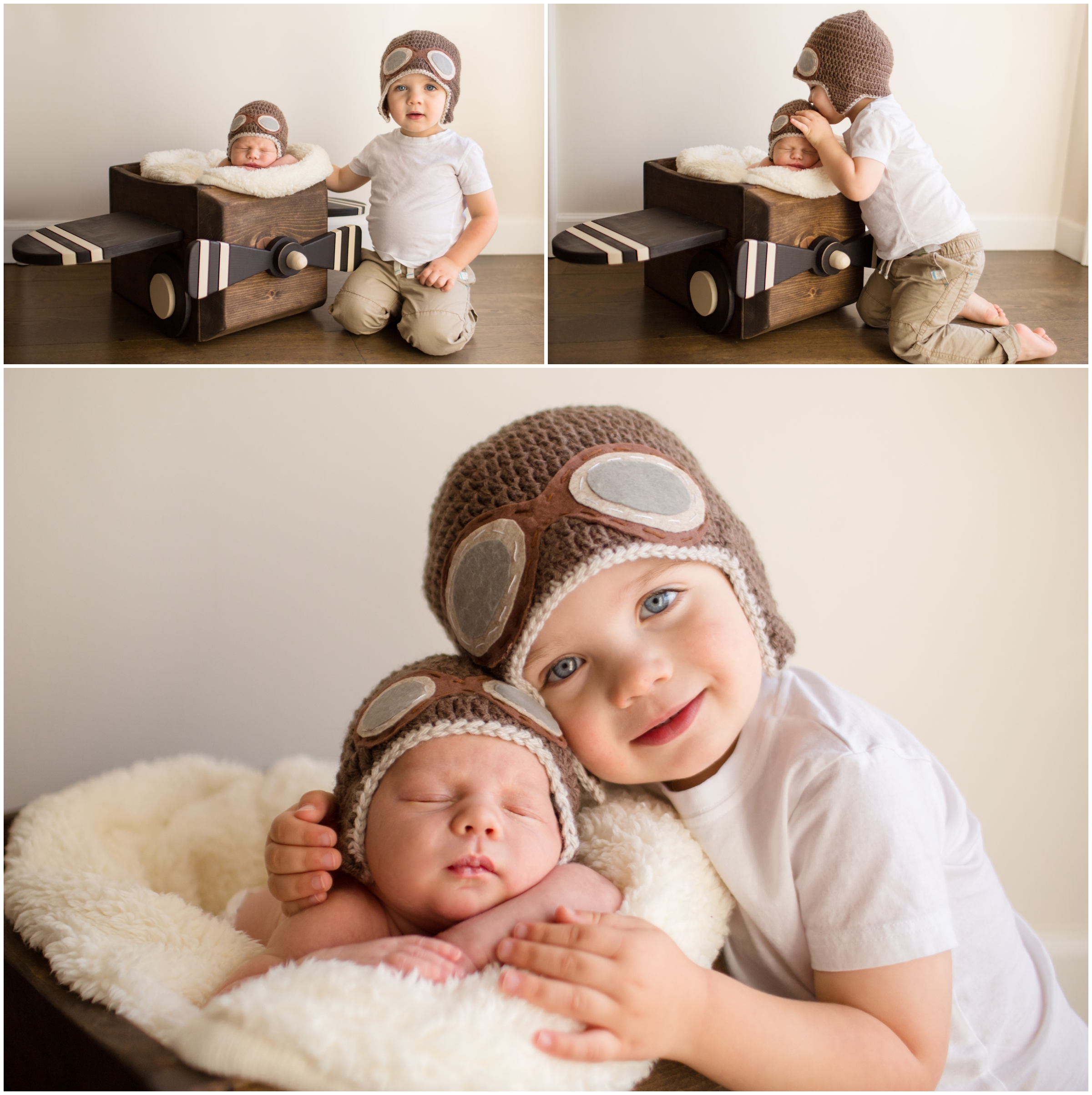 Newborn in Plane Prop with Sibling by Just Maggie Photography - Los Angeles Newborn Photographer
