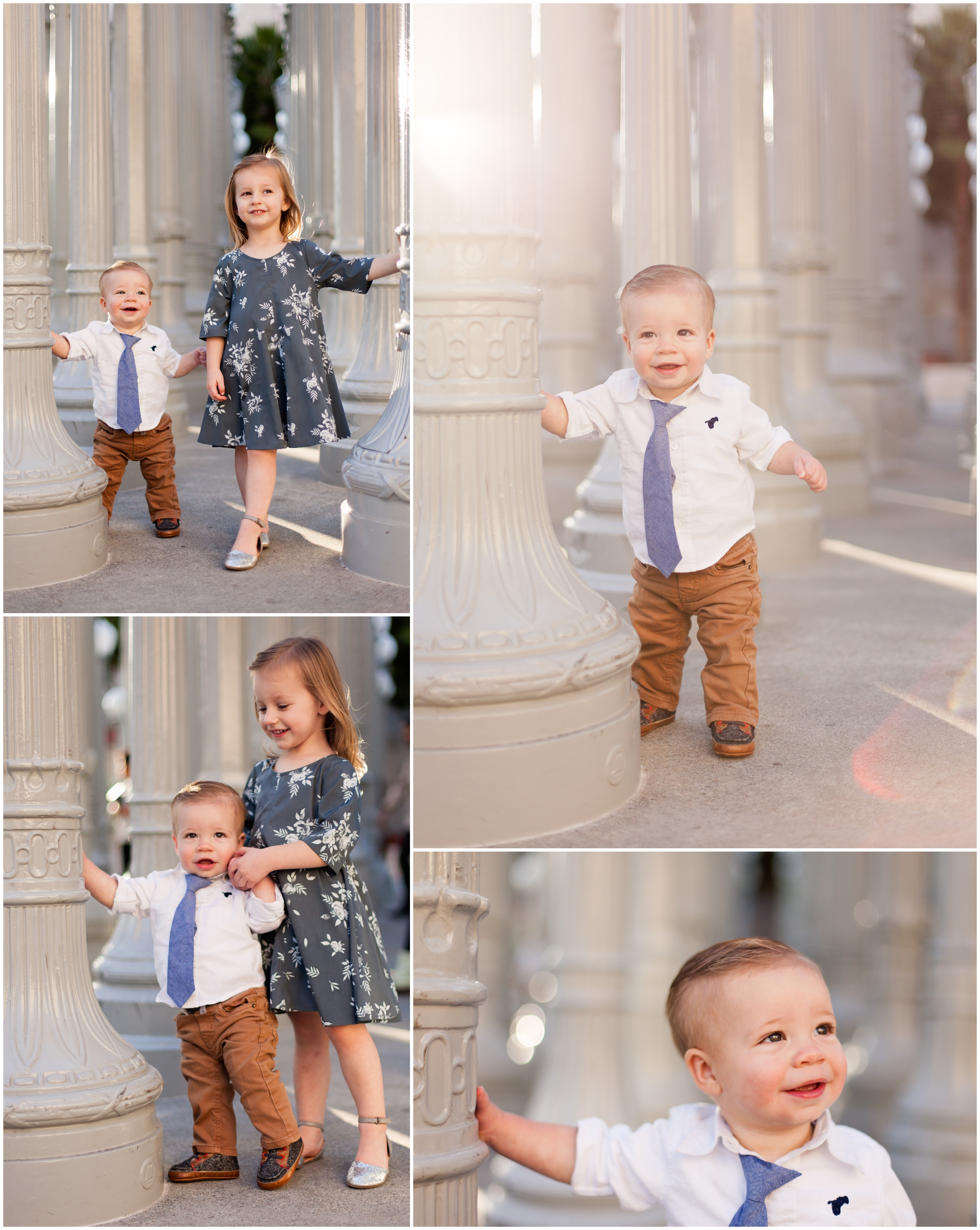 Siblings at LACMA Lightposts by Just Maggie Photography - Los Angeles Family Photographer