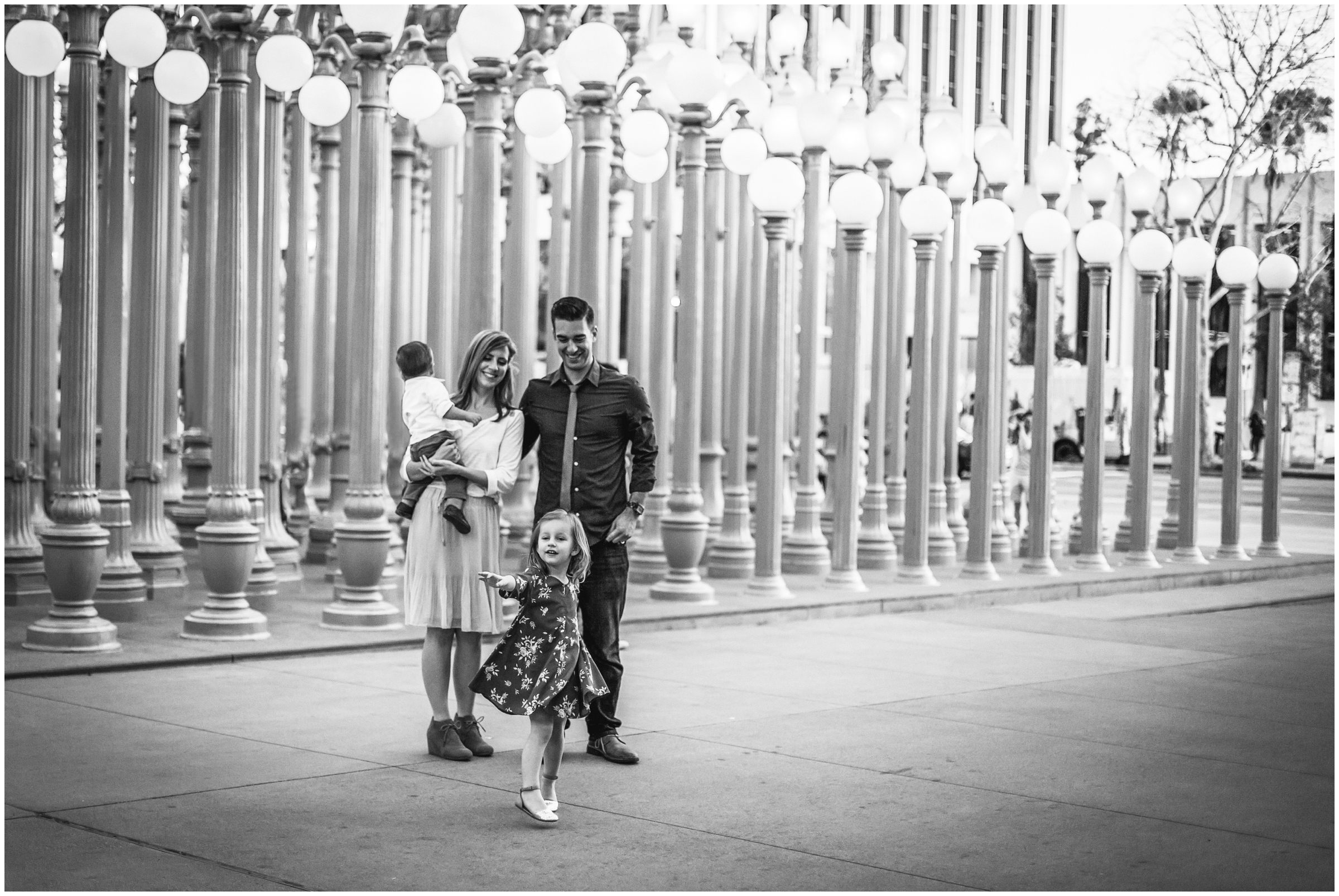 Family Portraits at LACMA Lightposts by Just Maggie Photography - Los Angeles Family Photographer
