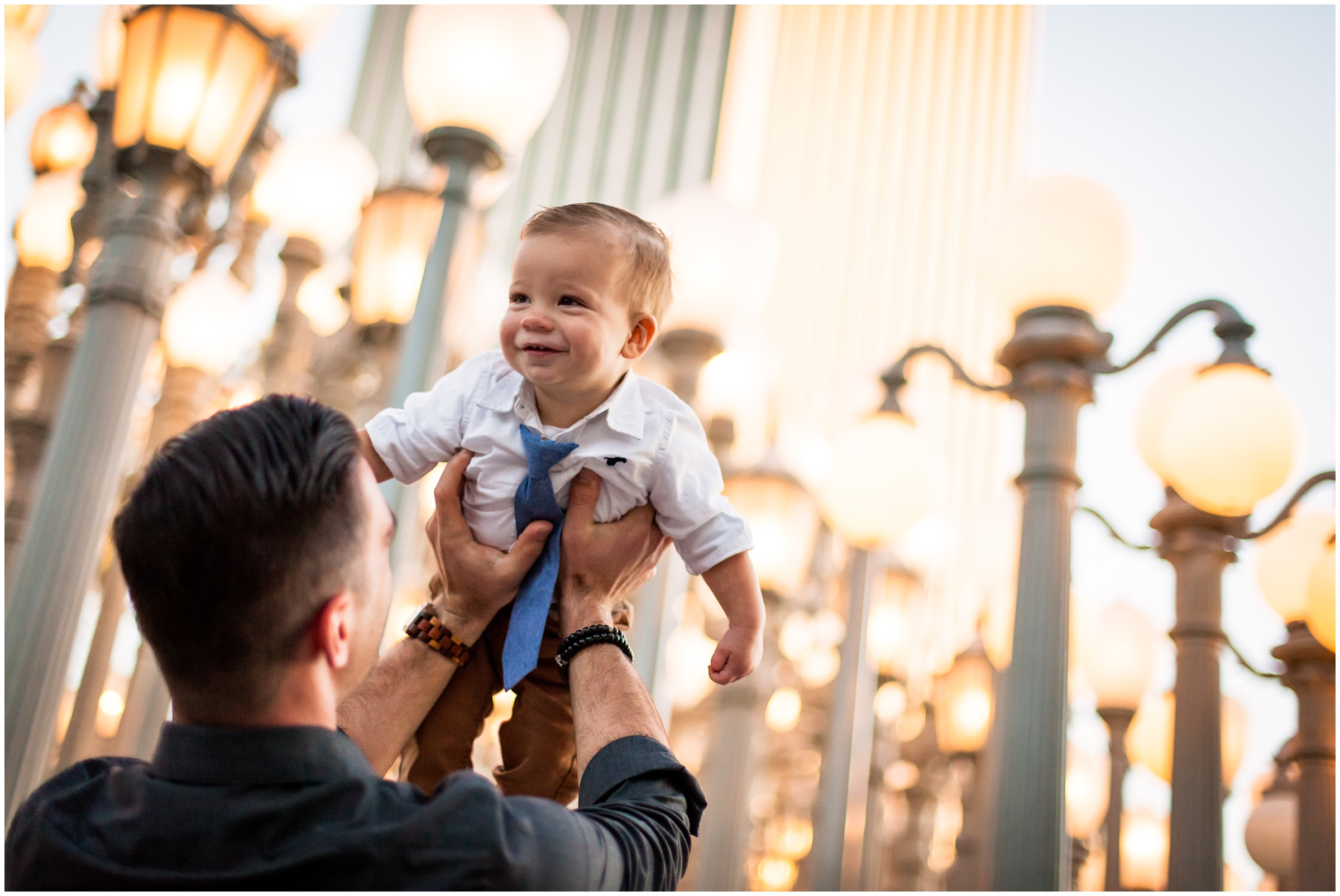 Dad and son at LACMA Lightposts by Just Maggie Photography - Los Angeles Family Photographer