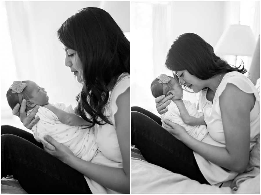 Modern Newborn Family Portraits with Mom Indoors with Natural Light by Just Maggie Photography -- Los Angeles Maternity and Newborn Photographer