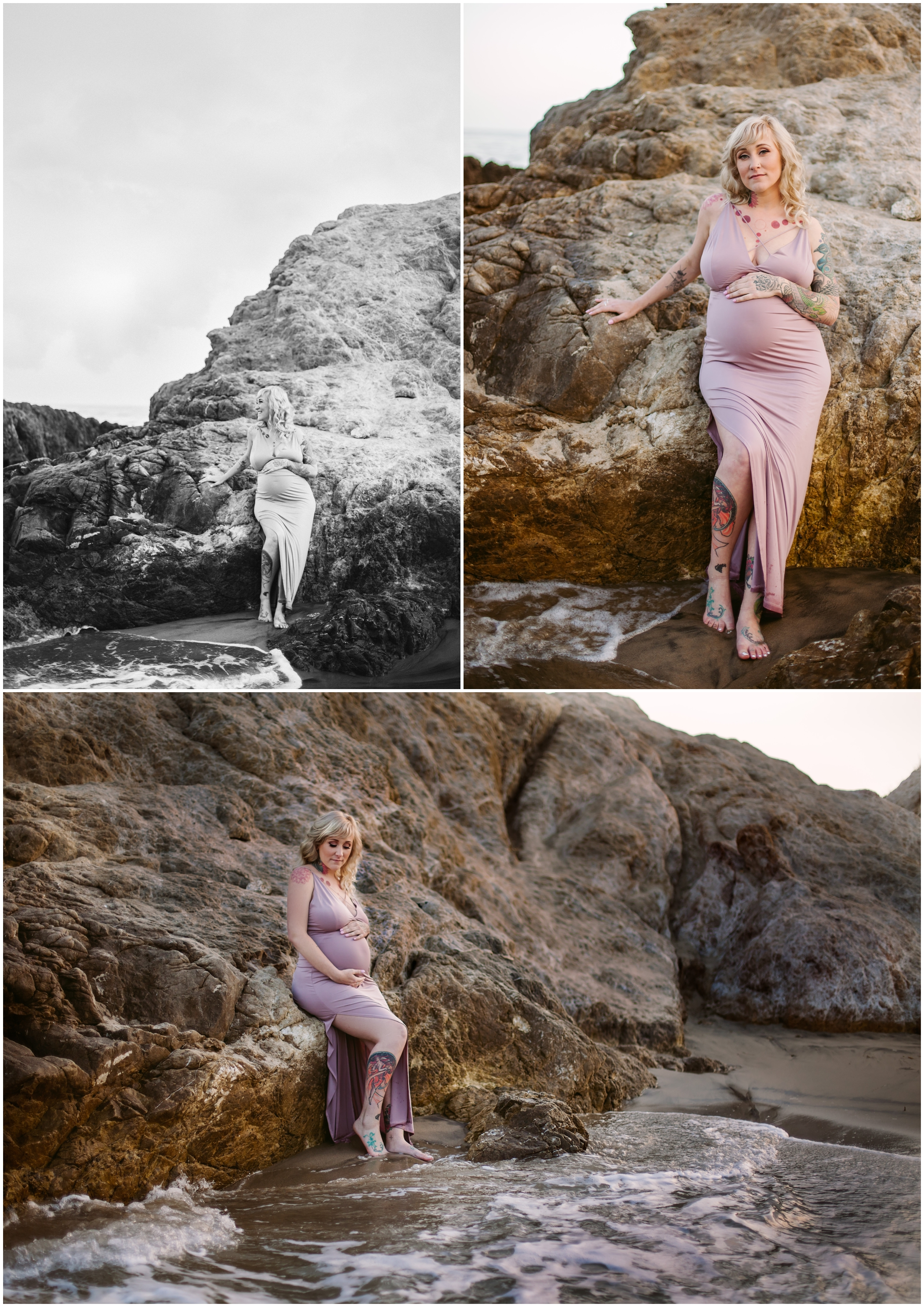 Maternity Portraits on a rocky beach by Just Maggie Photography - Los Angeles Maternity & Baby Photographer