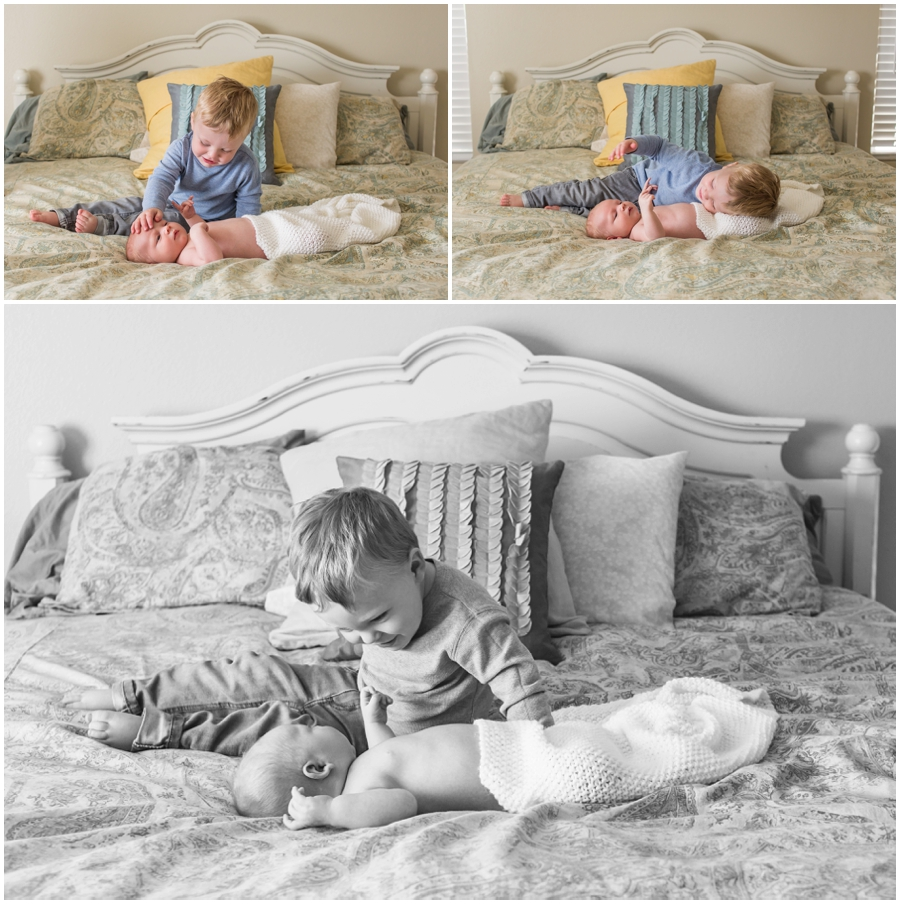 Newborn Portraits at Home in Mom and Dad's room by Just Maggie Photography -- Los Angeles Maternity and Newborn Photographer