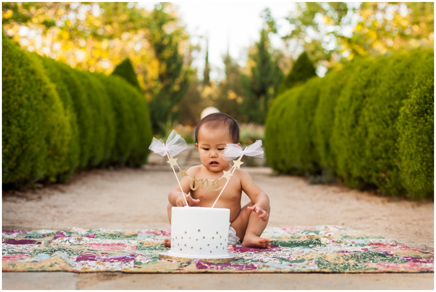 Outdoor Cake Smash by Just Maggie Photography - Los Angeles Baby Photographer