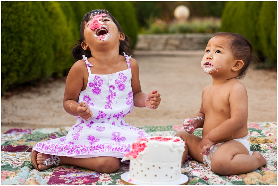 Cake Smash with sibling by Just Maggie Photography - Los Angeles Baby Photographer