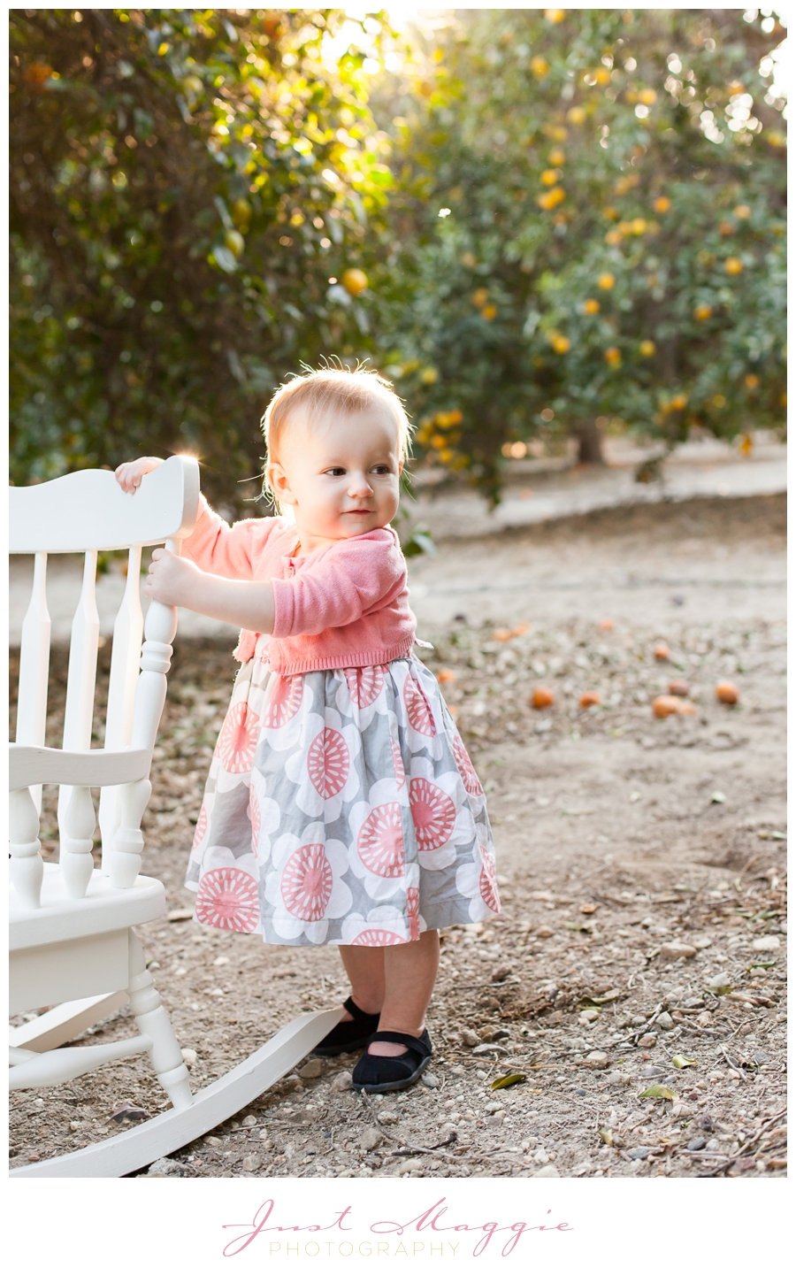 One Year Old Portraits In Orange Groves By Just Maggie Photography