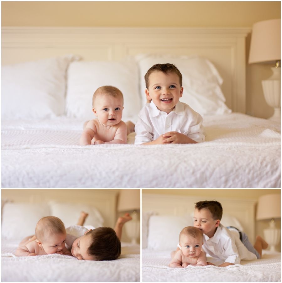 Three Month Old Sibling Pose on Bed by Just Maggie Photography - Los Angeles Baby's First Year Photographer