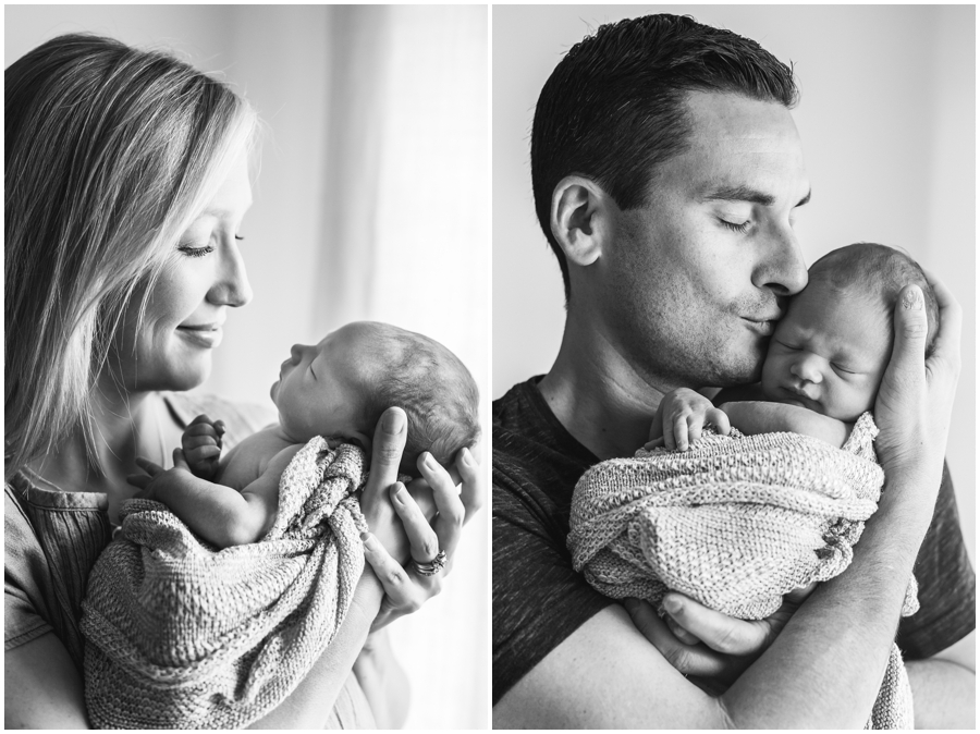 Simple Newborn Posing with Mom and Dad by Just Maggie Photography - Los Angeles Newborn Photographer