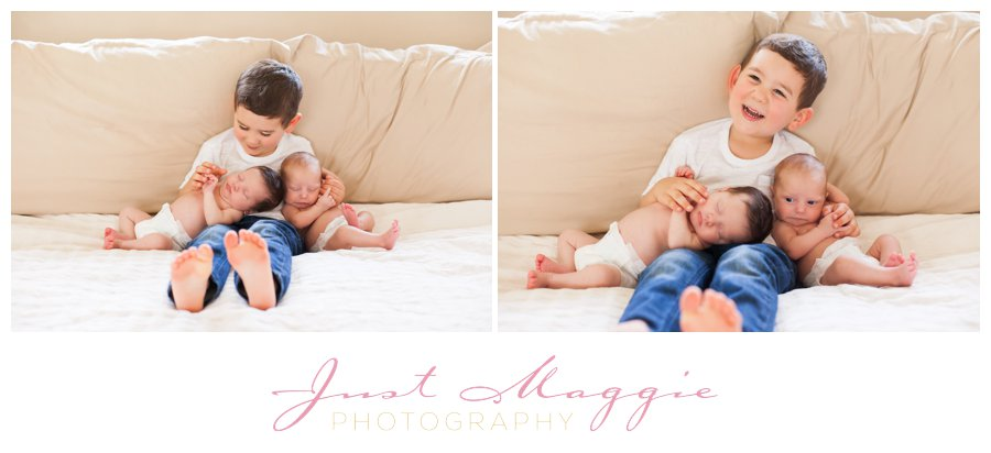 Newborn Twins with Sibling by Just Maggie Photograpy - Los Angeles Newborn Photographer