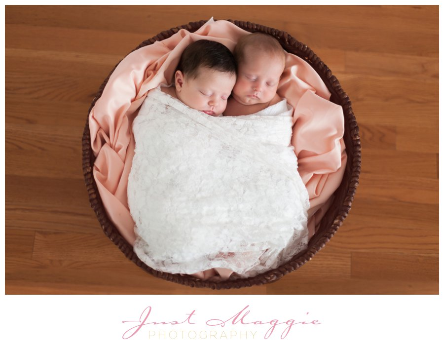 Newborn Twins in Basket by Just Maggie Photograpy - Los Angeles Newborn Photographer
