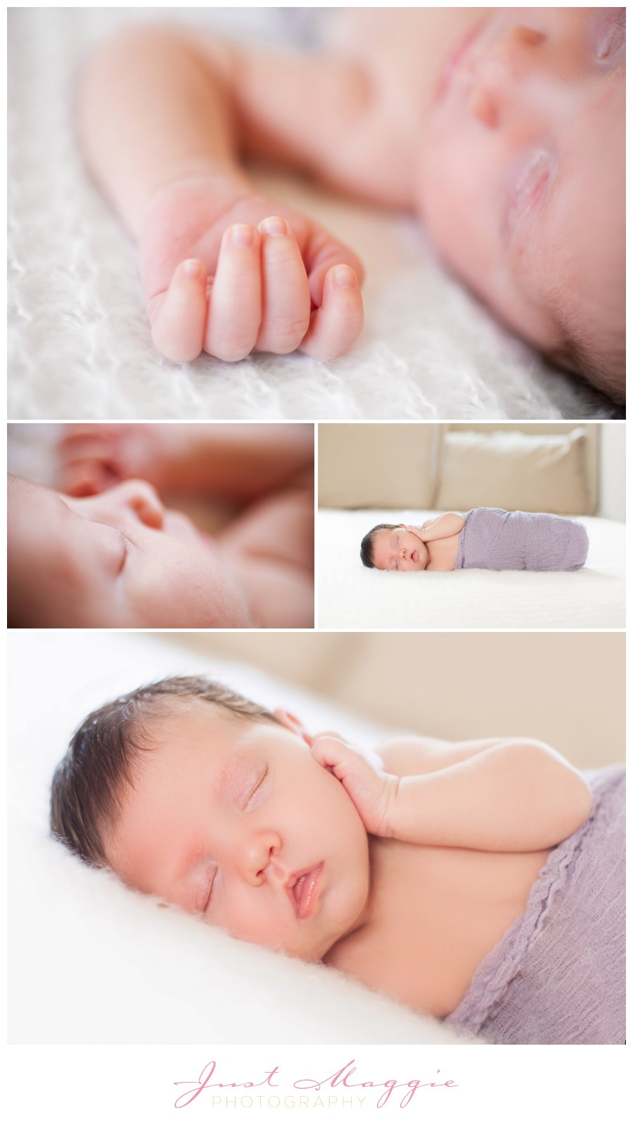 Swaddled Newborn Girl by Just Maggie Photograpy - Los Angeles Newborn Photographer