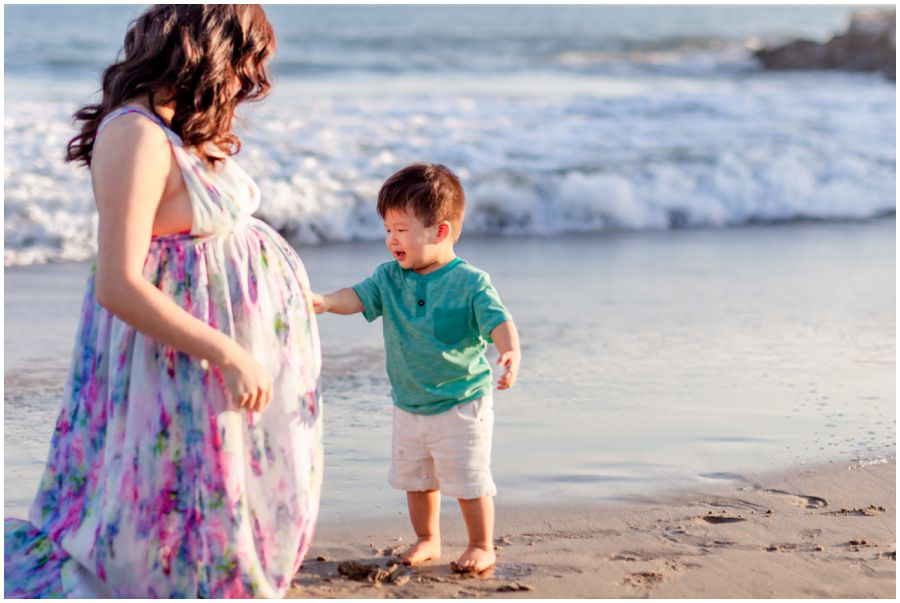Mom with Toddler Boy Maternity Portrait by Just Maggie Photography - Los Angeles Maternity Photographer