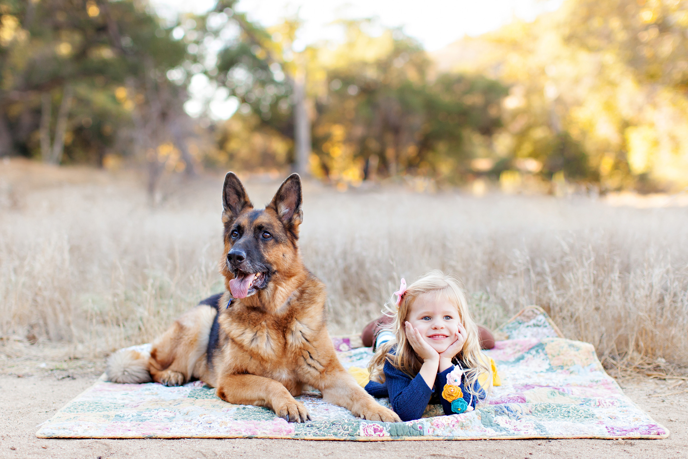 Girl and Dog Fall Family Portraits by Just Maggie Photography Los Angeles Family Photographer