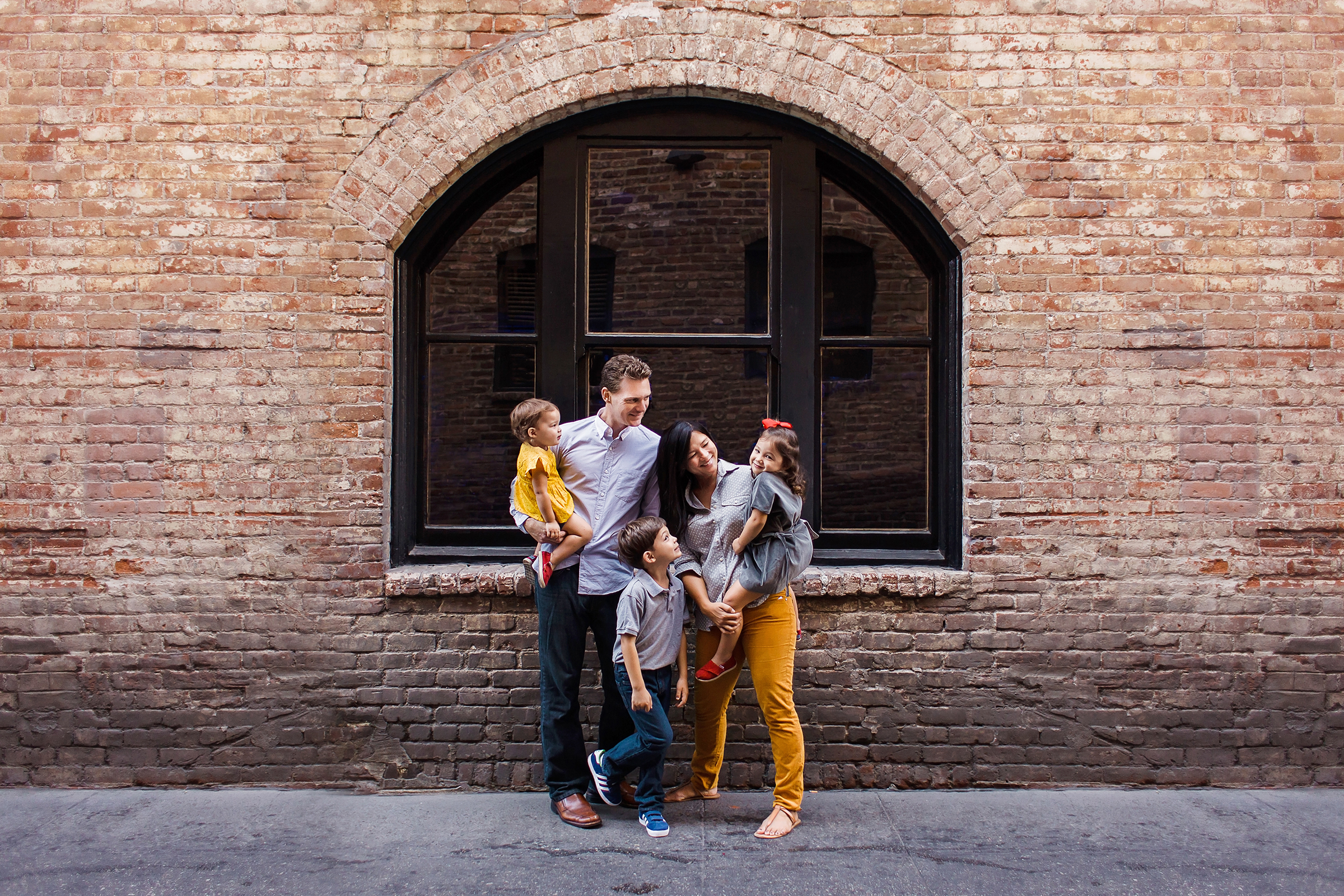 Urban Brick Family Portraits by Just Maggie Photography Los Angeles Family Photographer