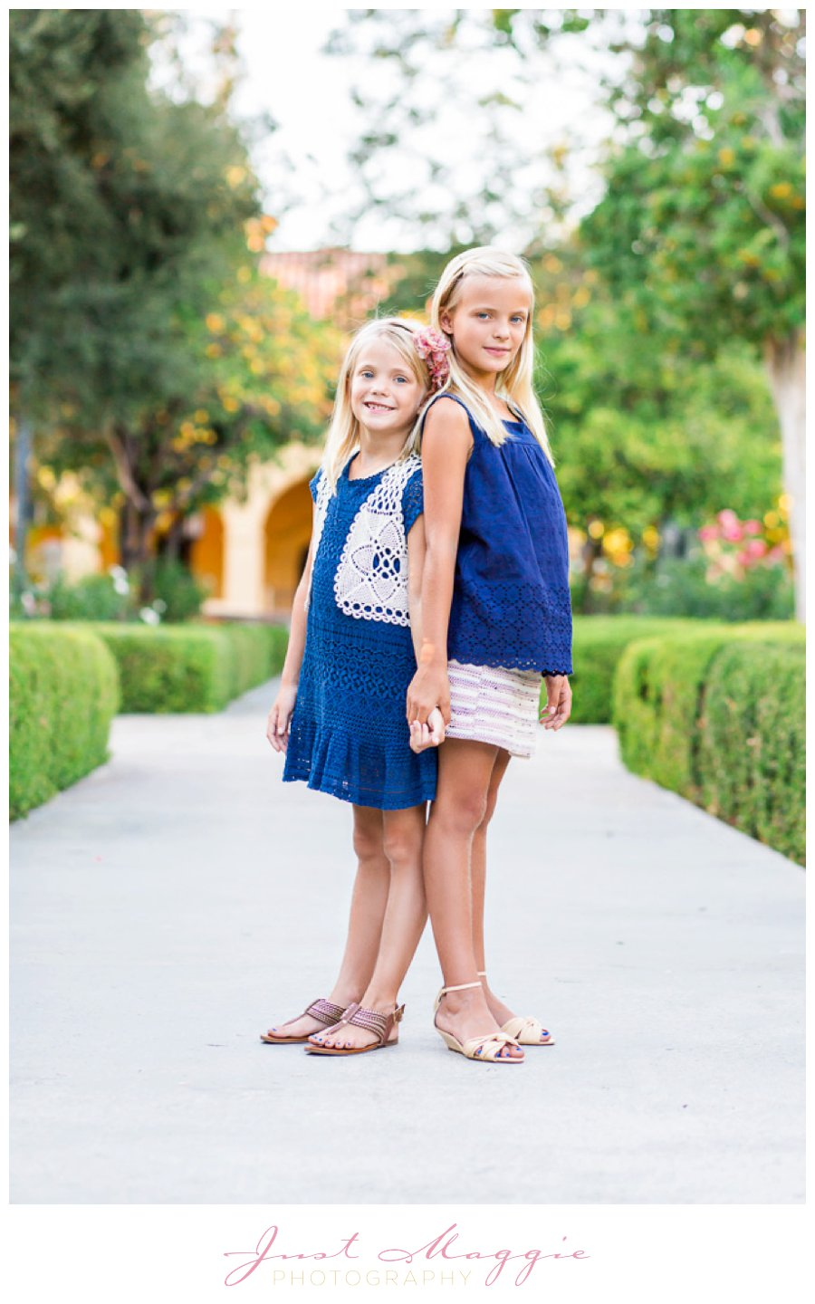 Playful Sister Sibling Portraits by Just Maggie Photography - Los Angeles Family Portrait Photographer