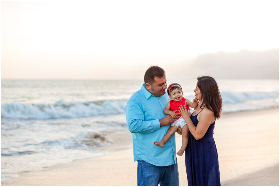One Year Old with Family on the Beach by Just Maggie Photography - Los Angeles Family Photographer