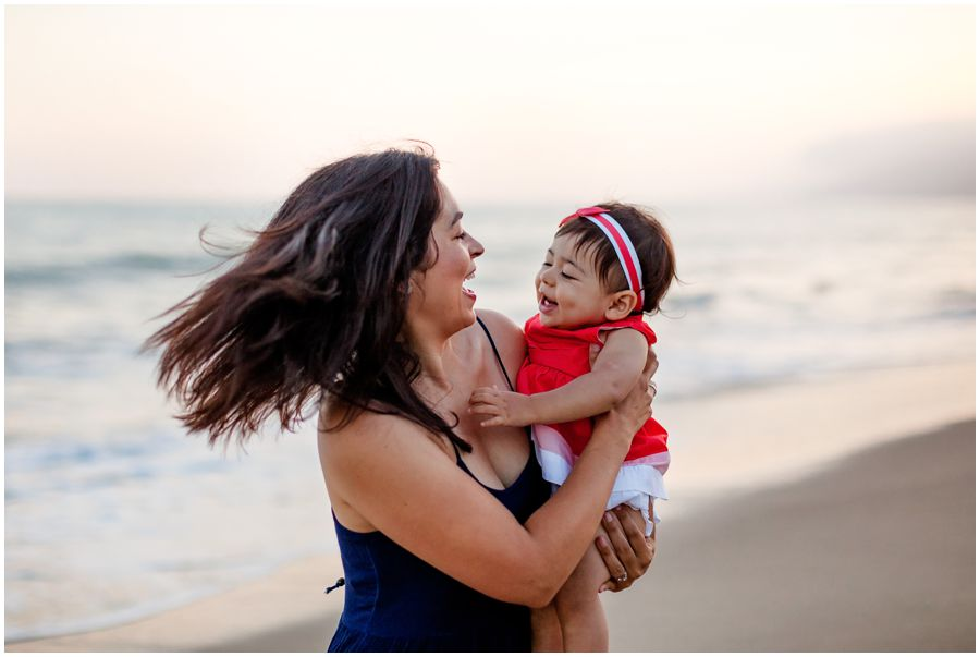 One Year Old with Mom on the Beach by Just Maggie Photography - Los Angeles Baby Photographer