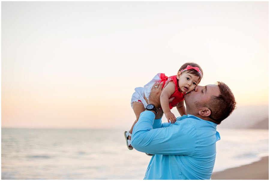 One Year Old with Dad on the Beach by Just Maggie Photography - Los Angeles Baby Photographer