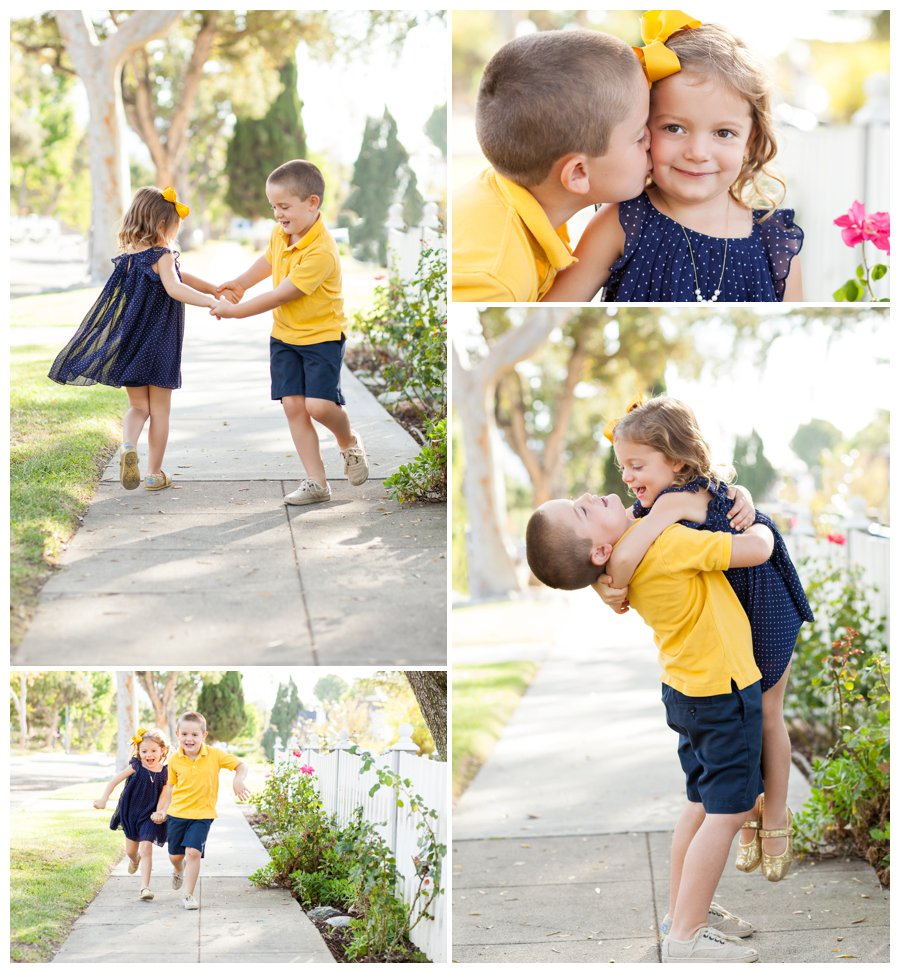 Sweet, candid sibling portrait photography in Pasadena neighborhood by Just Maggie Photography -- Los Angeles Family Photographer