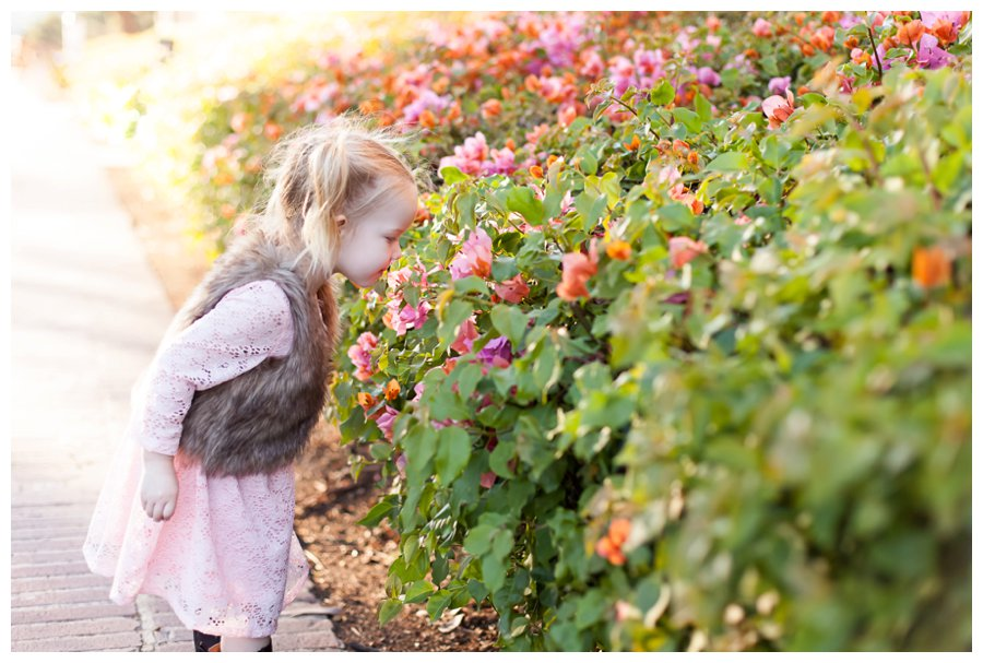 Smelling the flowers during family portraits by Just Maggie Photography -- Los Angeles Family Photographer