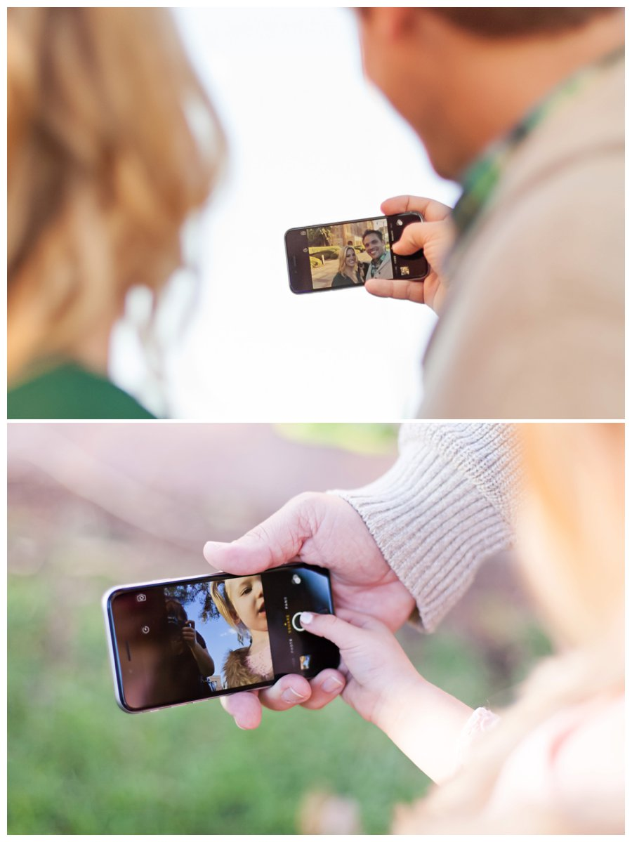 Fun selfies during holiday family portraits by Just Maggie Photography -- Los Angeles Family Photographer