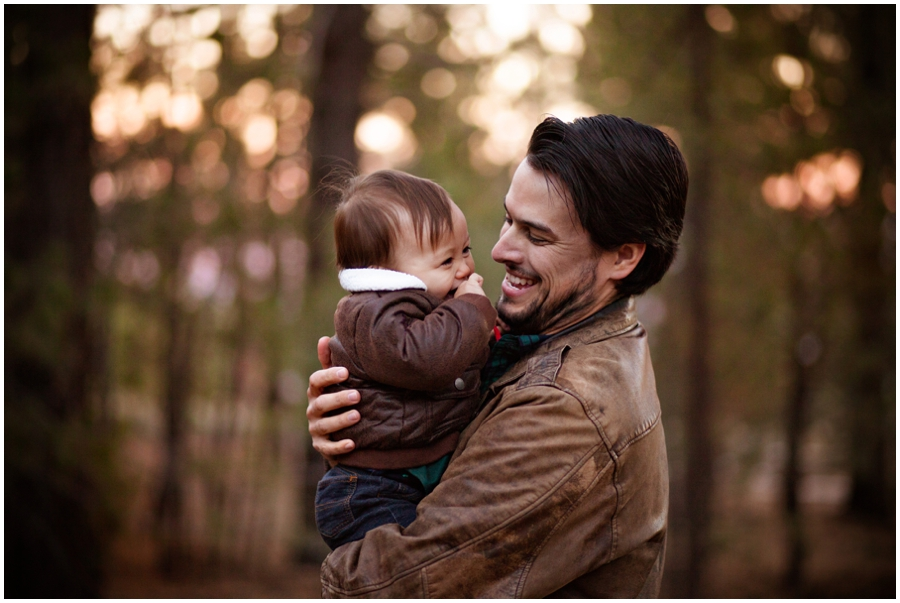 Dad and Baby in the Woods by Just Maggie Photography - Los Angeles Family Photographer