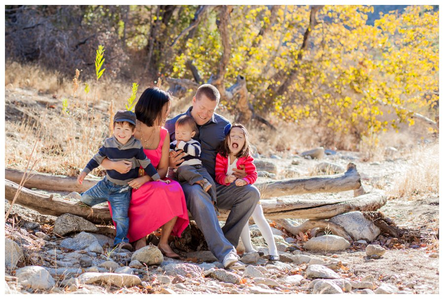 Woodsy fall family portraits in Santa Clarita by Just Maggie Photography -- Los Angeles Family Photographer