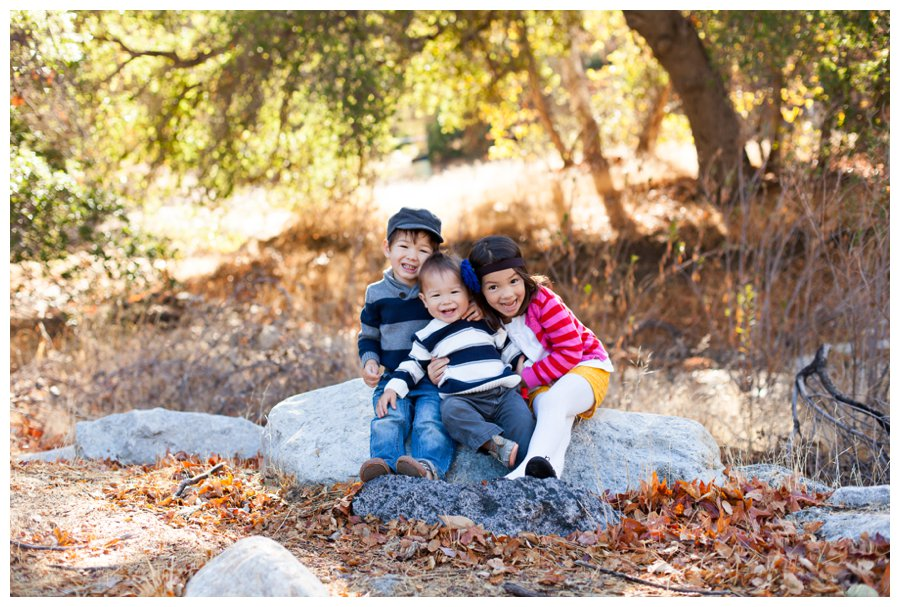 Woodsy fall holiday portraits in Santa Clarita by Just Maggie Photography -- Los Angeles Family Photographer