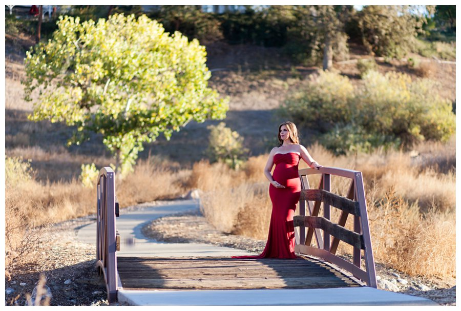Dramatic Los Angeles maternity portraits with red gown by Just Maggie Photography -- Los Angeles Maternity and Newborn Photographer