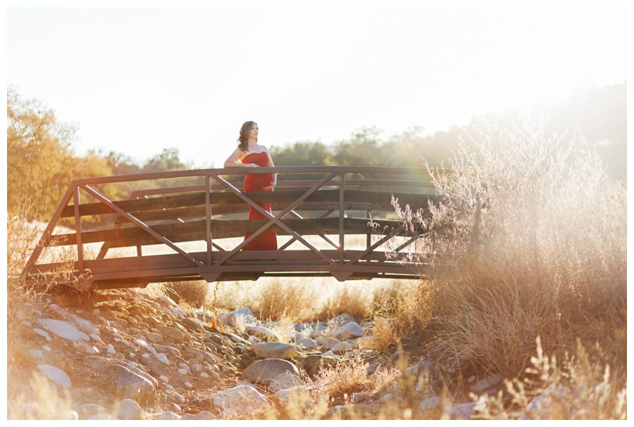 Dramatic Los Angeles maternity portraits on a footbridge by Just Maggie Photography -- Los Angeles Maternity and Newborn Photographer